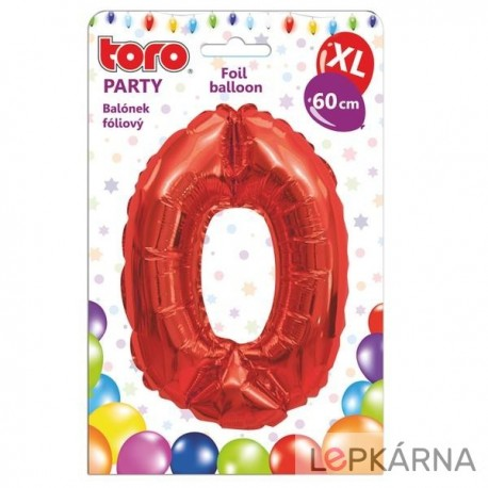 "Balónek XL, číslice ""0"", 60 cm, červený"