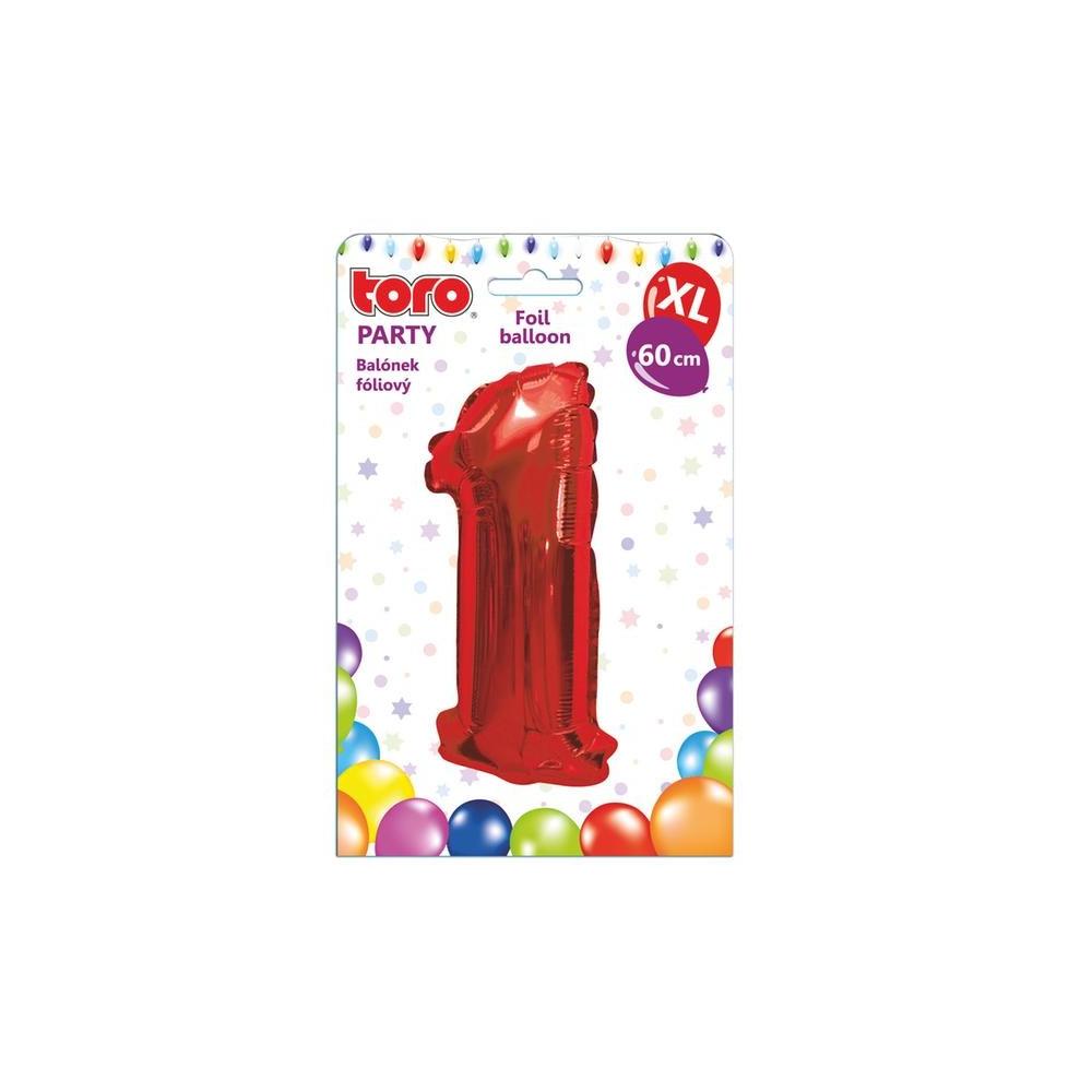 "Balónek XL, číslice ""1"", 60 cm, červený"