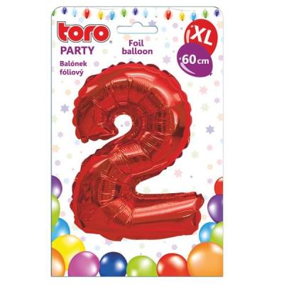 "Balónek XL, číslice ""2"", 60 cm, červený"