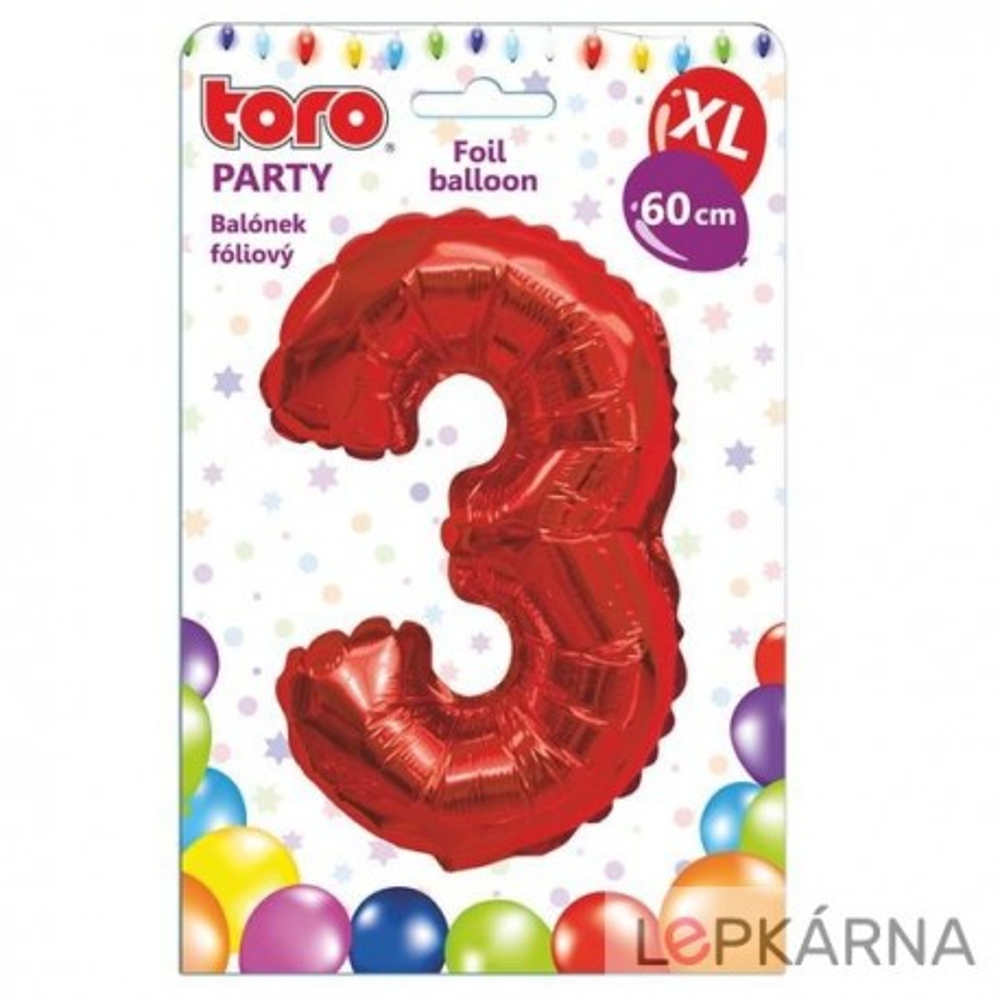 "Balónek XL, číslice ""3"", 60 cm, červený"