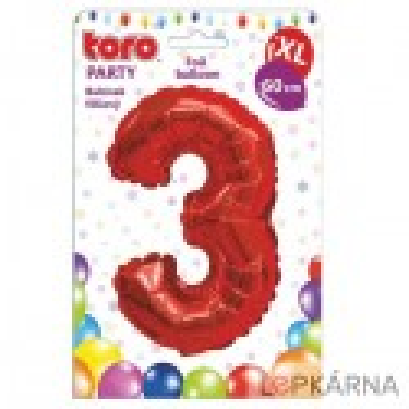 "Fóliový balónek ""3"", 60 cm, červený"