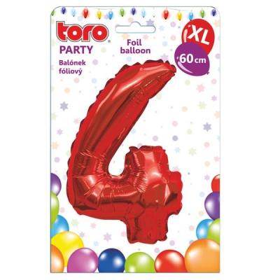 "Fóliový balónek ""4"", 60 cm, červený"
