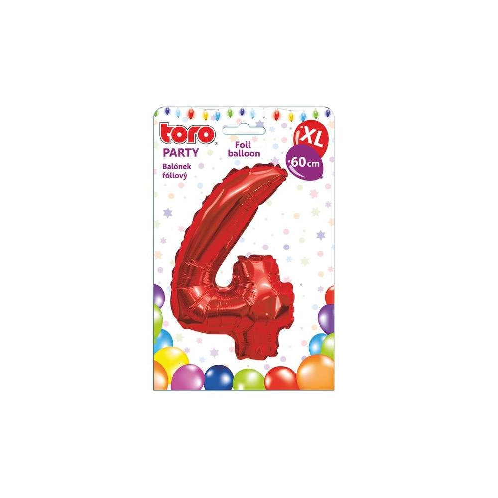 "Balónek XL, číslice ""4"", 60 cm, červený"
