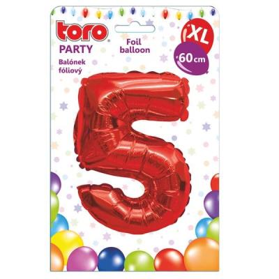 "Fóliový balónek ""5"", 60 cm, červený"
