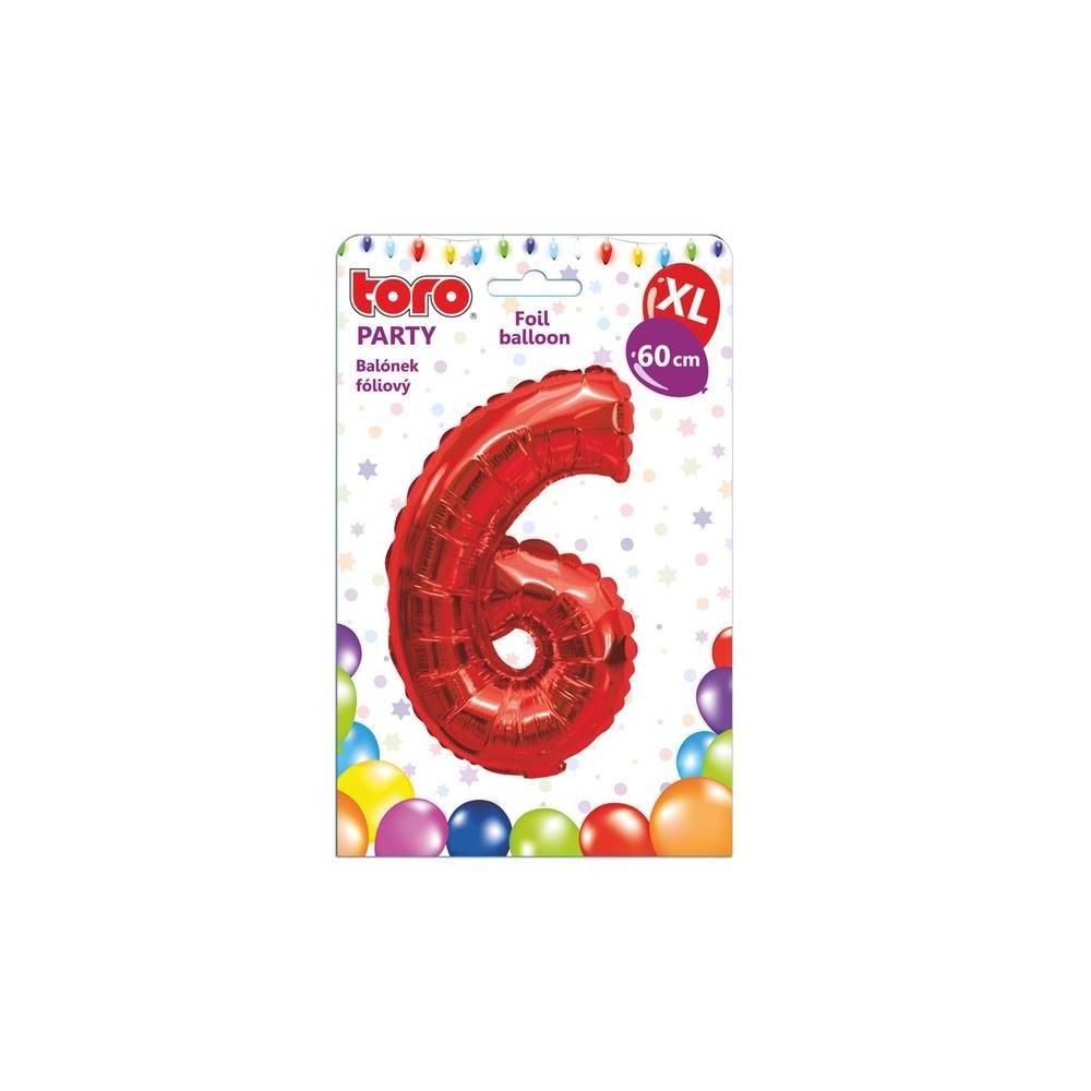 "Balónek XL, číslice ""6"", 60 cm, červený"