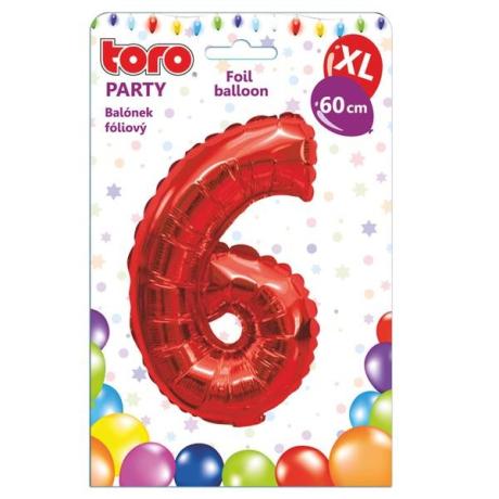 "Fóliový balónek ""6"", 60 cm, červený"