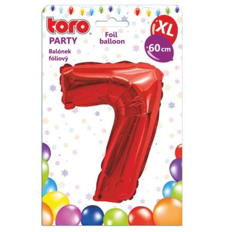"Fóliový balónek ""7"", 60 cm, červený"