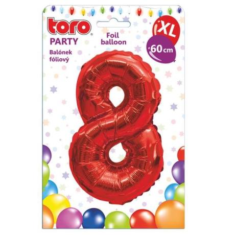 "Fóliový balónek ""8"", 60 cm, červený"