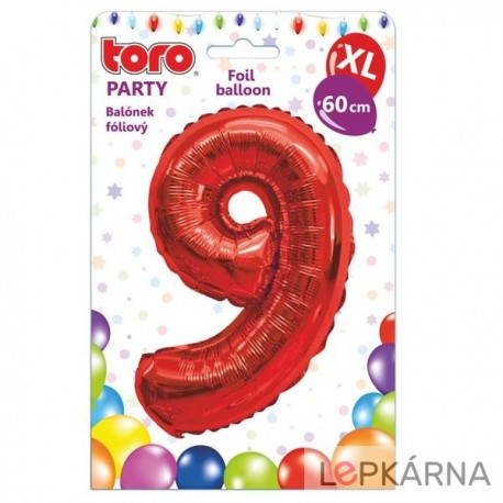 "Balónek XL, číslice ""9"", 60 cm, červený"