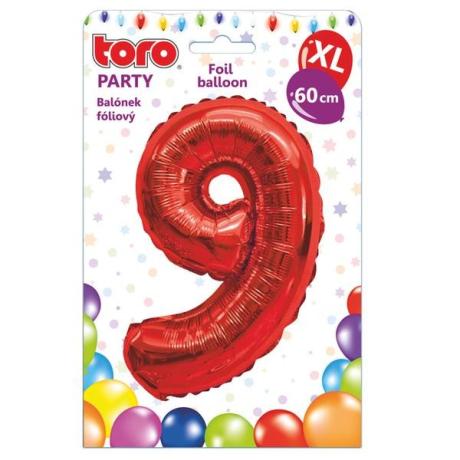 "Fóliový balónek ""9"", 60 cm, červený"