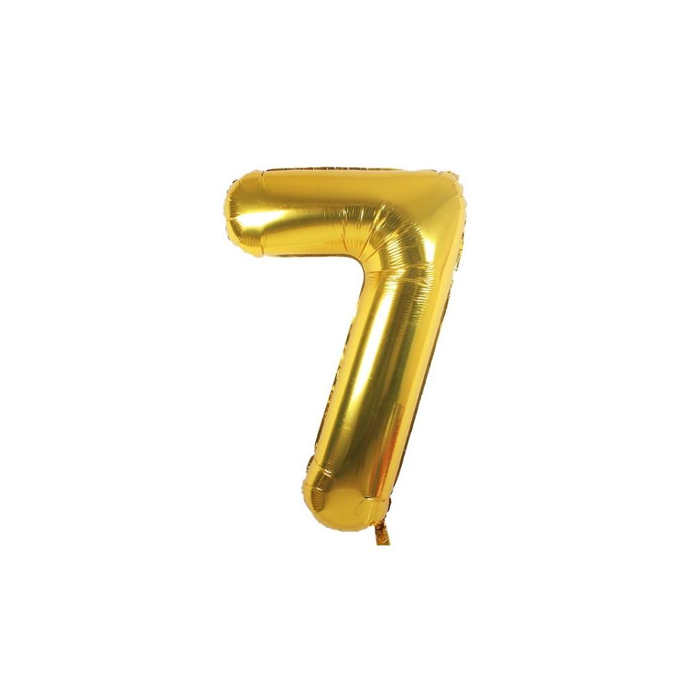 "BALÓNEK fóliový číslo 7 zlatá - 81 cm 32"""