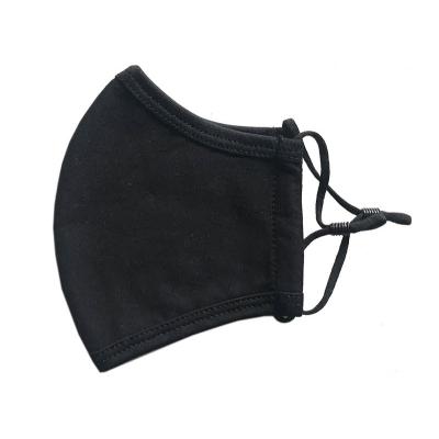 Rouška černá 100 % bavlna s nastavitelnými šňůrkami