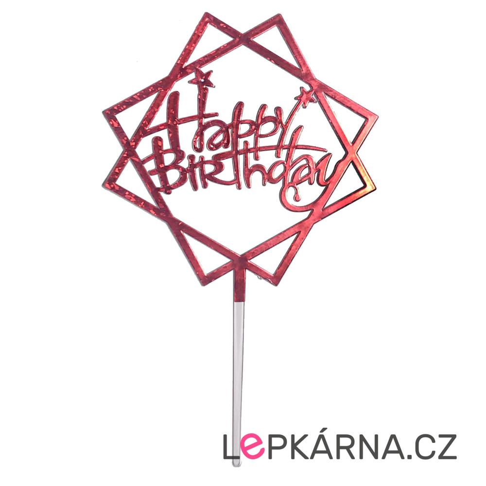 Zápich na dort Happy Birthday červený