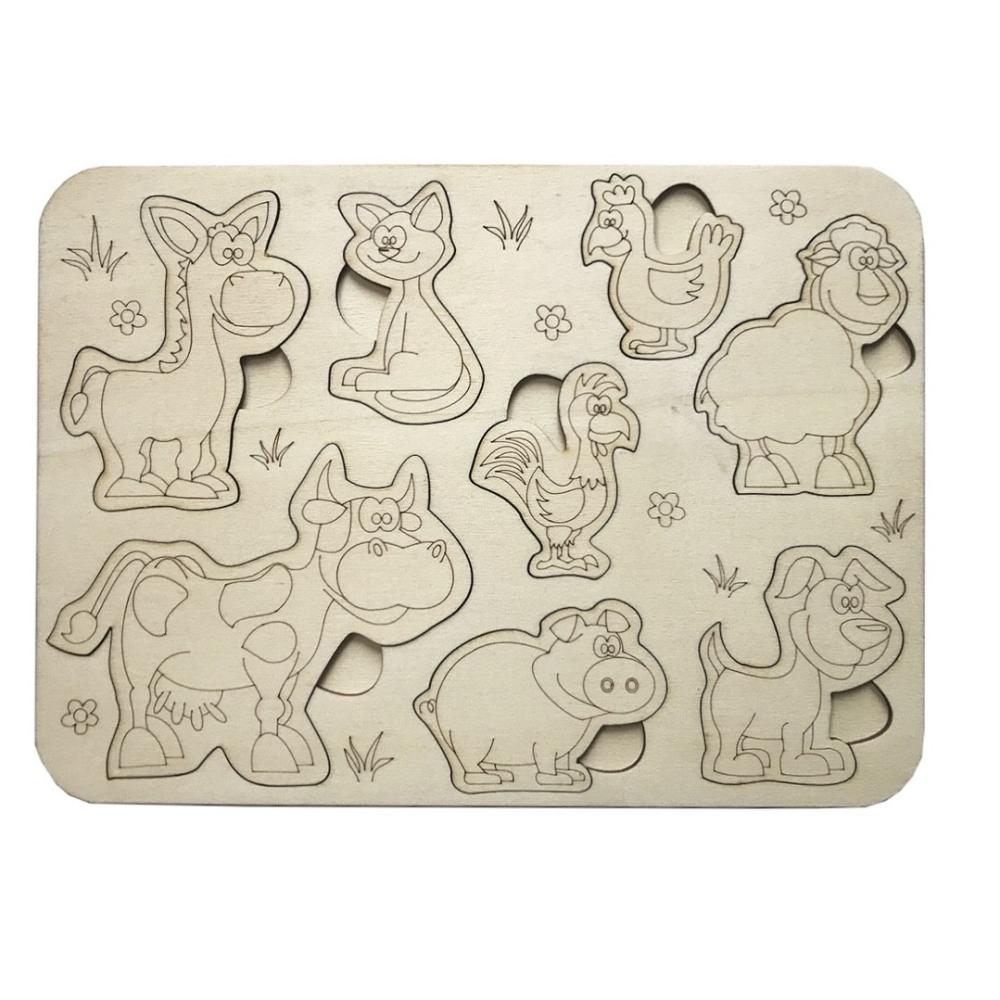 Dřevěné puzzle zvířátka - omalovánky