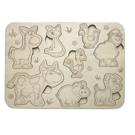 Dřevěné vkládací puzzle zvířátka - omalovánky