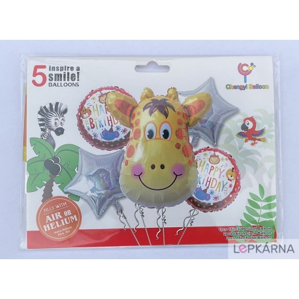 Balónky Žirafa Happy birthday sada 5 ks