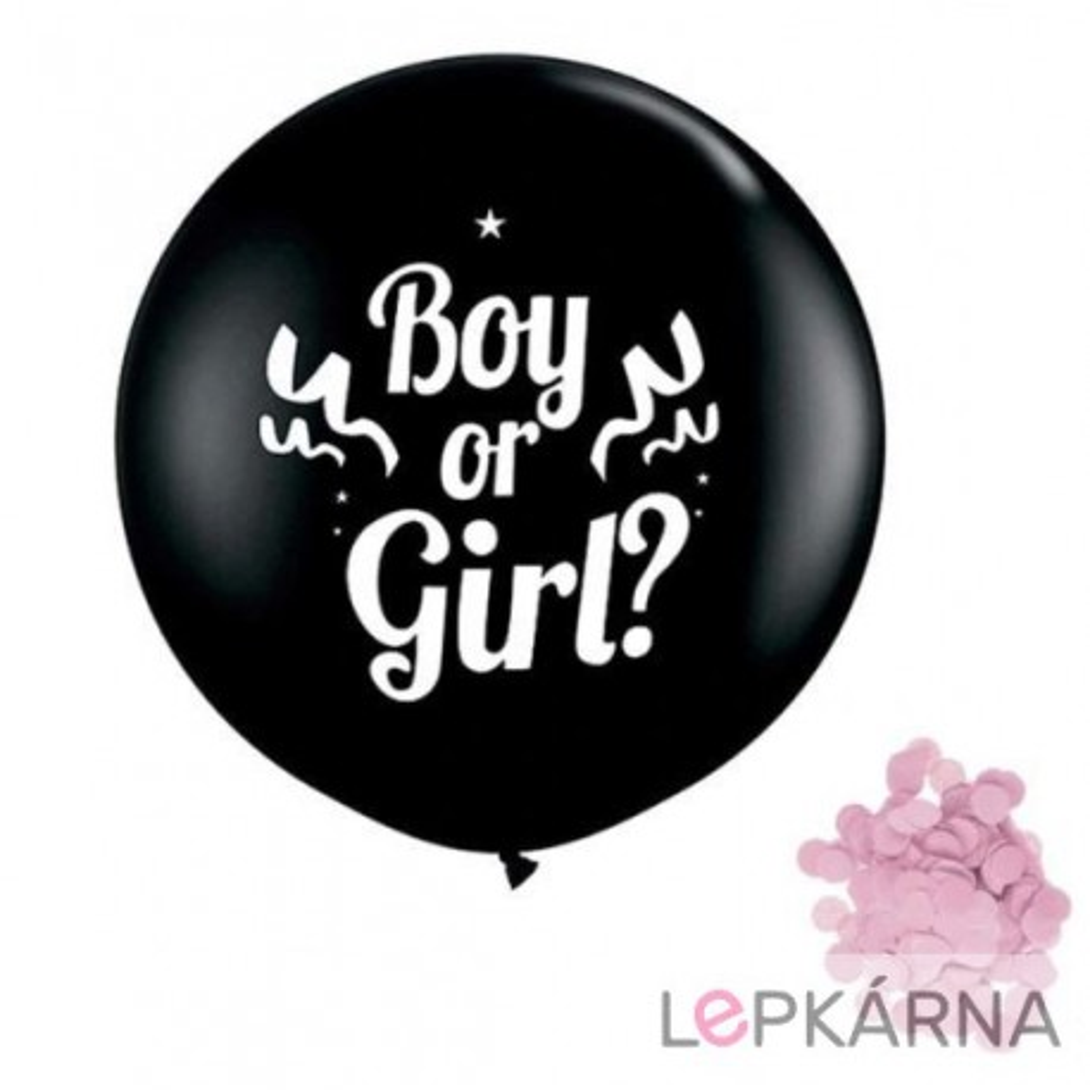 "Balónek ""Boy or Girl"" s růžovými konfetami, 1 m"