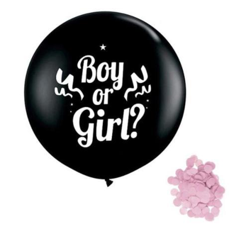 "Balónek ""Kluk nebo holka"" s růžovými konfetami, 1 m"