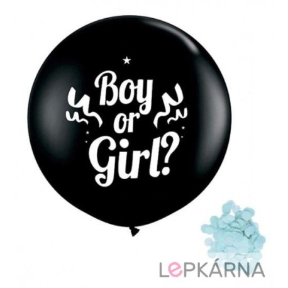 "Balónek ""Boy or Girl"" s modrými konfetami, 1 m"