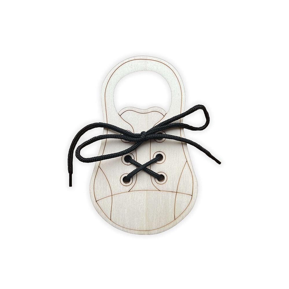 Dřevěná bota - zavaž si tkaničku