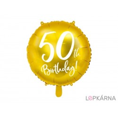 "Fóliový balónek ""50. narozeniny"" ZLATÝ, 45 cm"