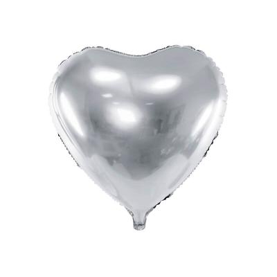 Foliový balónek srdce 45 cm stříbrný