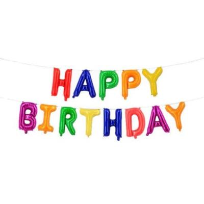 BALÓNEK fóliový Happy birthday barevný
