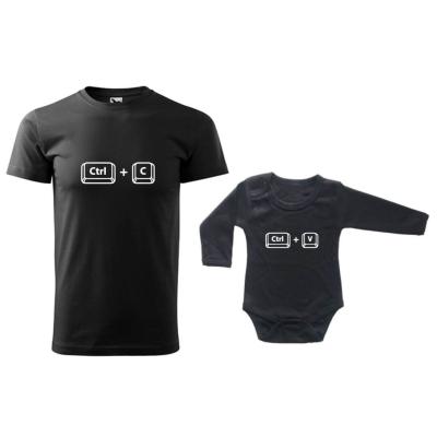 Sada trička a bodyčka CTRL+C a CTRL+V černá